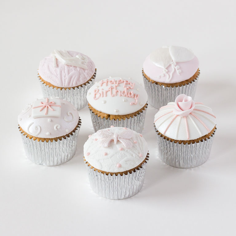 Female Birthday Cupcake Fondant Covered Cupcakes For A